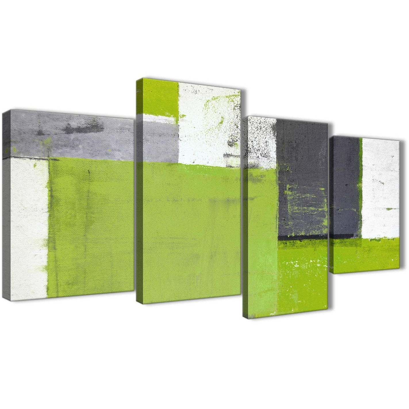 Large Lime Green Grey Abstract Painting Canvas Wall Art Print With Most Up To Date Lime Green Abstract Wall Art (View 12 of 20)