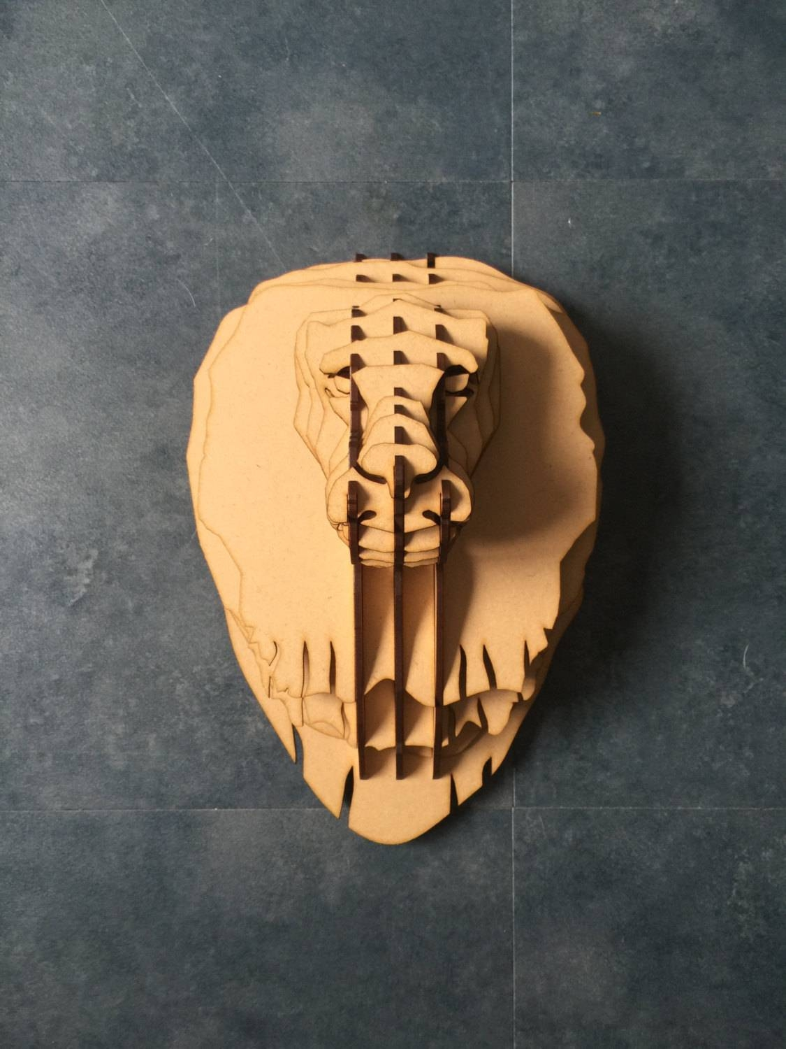 Large Lion Trophy Animal Head 3D Wall Art Decor Laser Cut Within Newest 3DAnimal Wall Art (View 10 of 20)