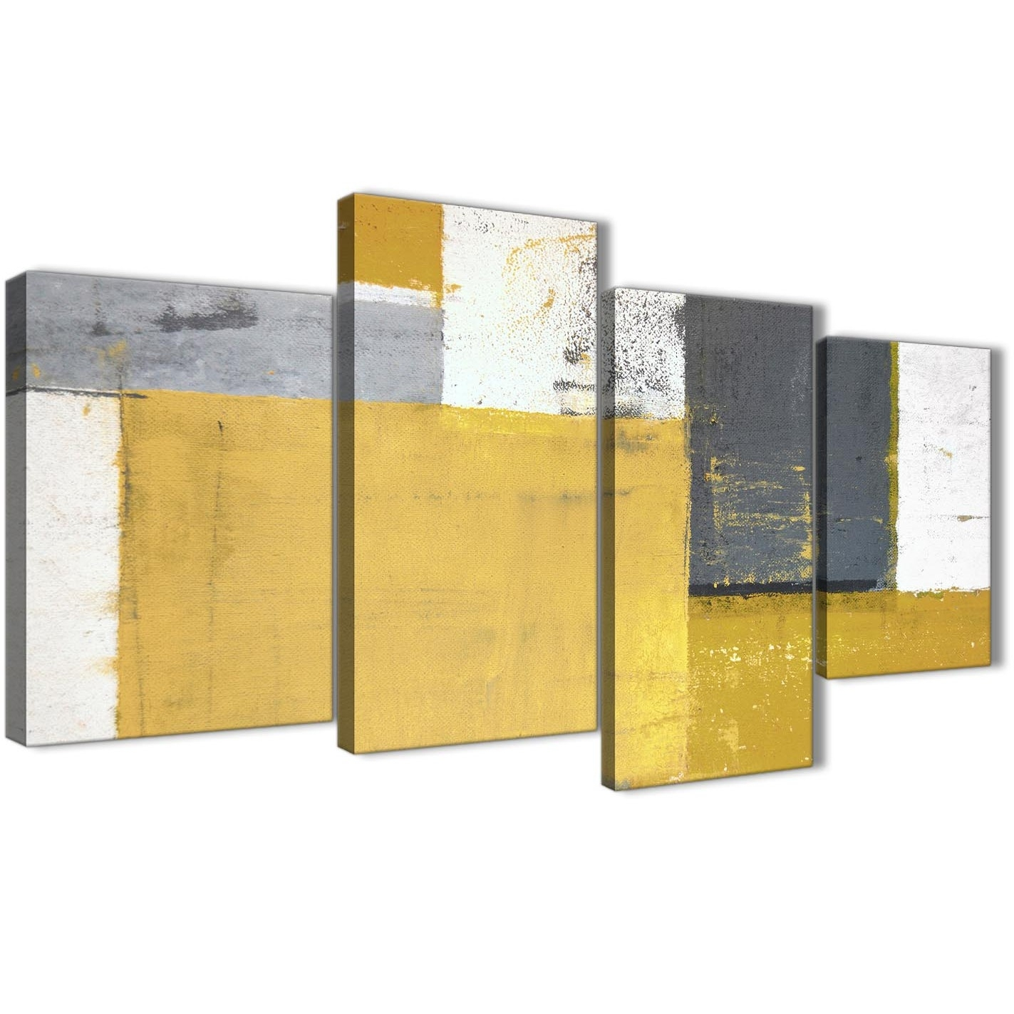 Large Mustard Yellow Grey Abstract Painting Canvas Wall Art Print Pertaining To Most Recent Yellow And Grey Abstract Wall Art (View 7 of 20)
