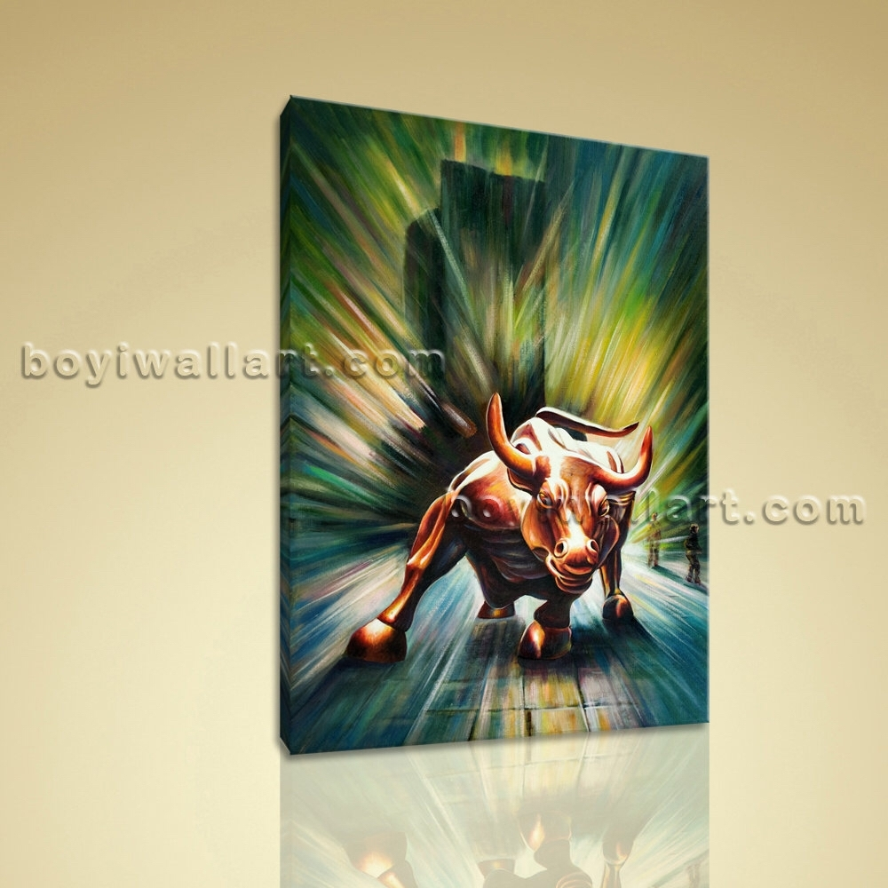 Large Original Abstract Painting On Canvas Wall Street Bull Statue With 2018 Original Abstract Wall Art (View 9 of 20)