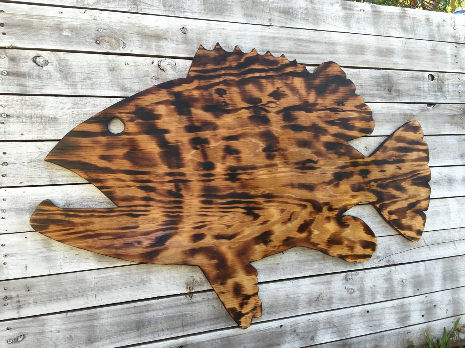 Large Outdoor Wall Art Fish Decor, Coastal Fish Sign, Goliath With Regard To Most Recently Released Outdoor Coastal Wall Art (View 10 of 20)