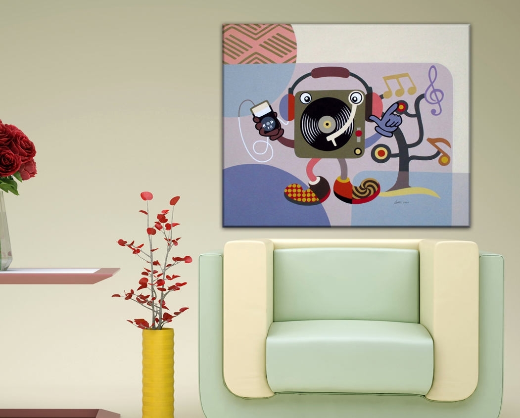 Large Pop Art On Canvas, Abstract Music Art, Original Music Art Throughout Most Up To Date Abstract Music Wall Art (Gallery 12 of 20)