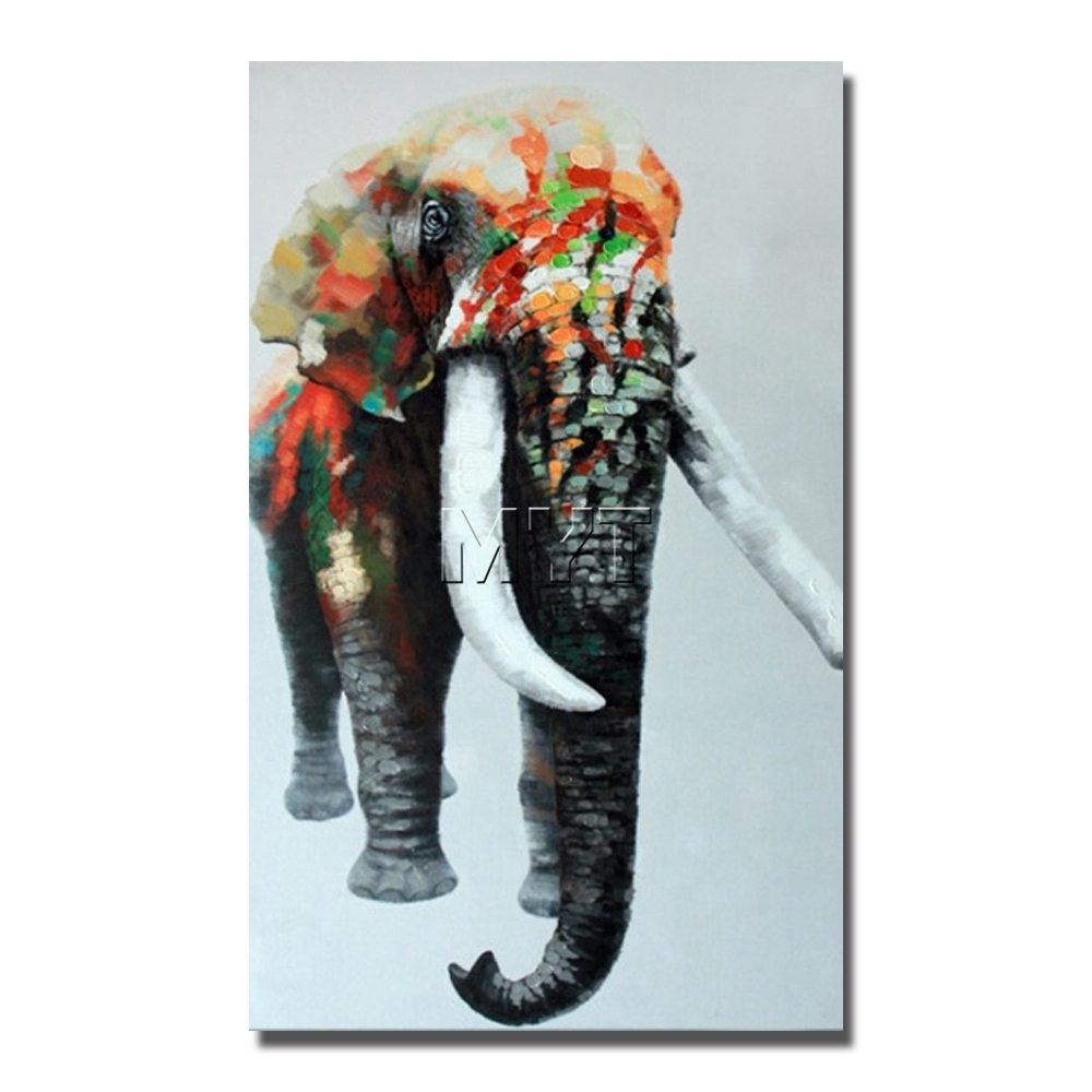 Large Size Elephant Oil Painting On Canvas Modern Wall Art Hand For Most Current Abstract Elephant Wall Art (View 16 of 20)