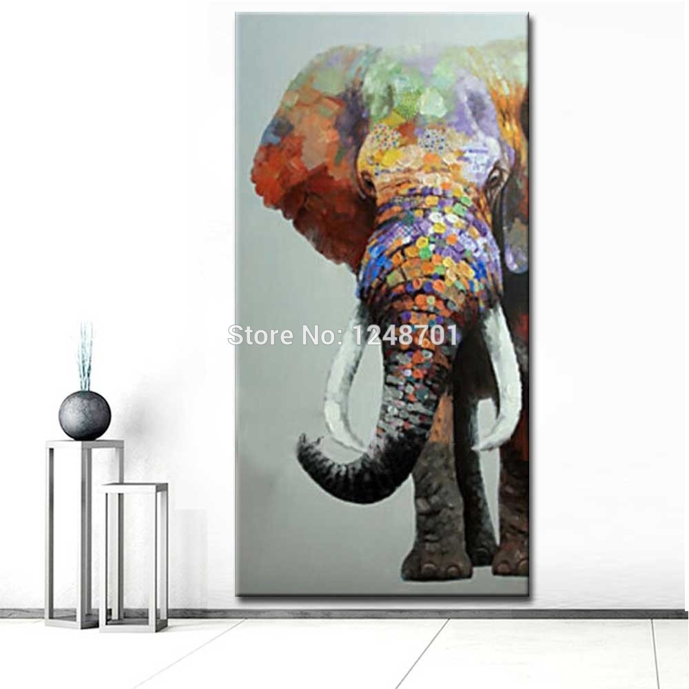Large Size Hand Painted Abstract Elephant Oil Painting On Canvas For Best And Newest Abstract Elephant Wall Art (View 4 of 20)