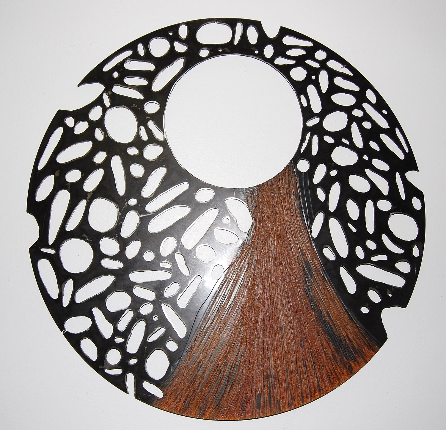 Large Steel Sculpture,recycled Metal Wall Art, Round Perforated Inside Current Abstract Outdoor Wall Art (View 5 of 20)