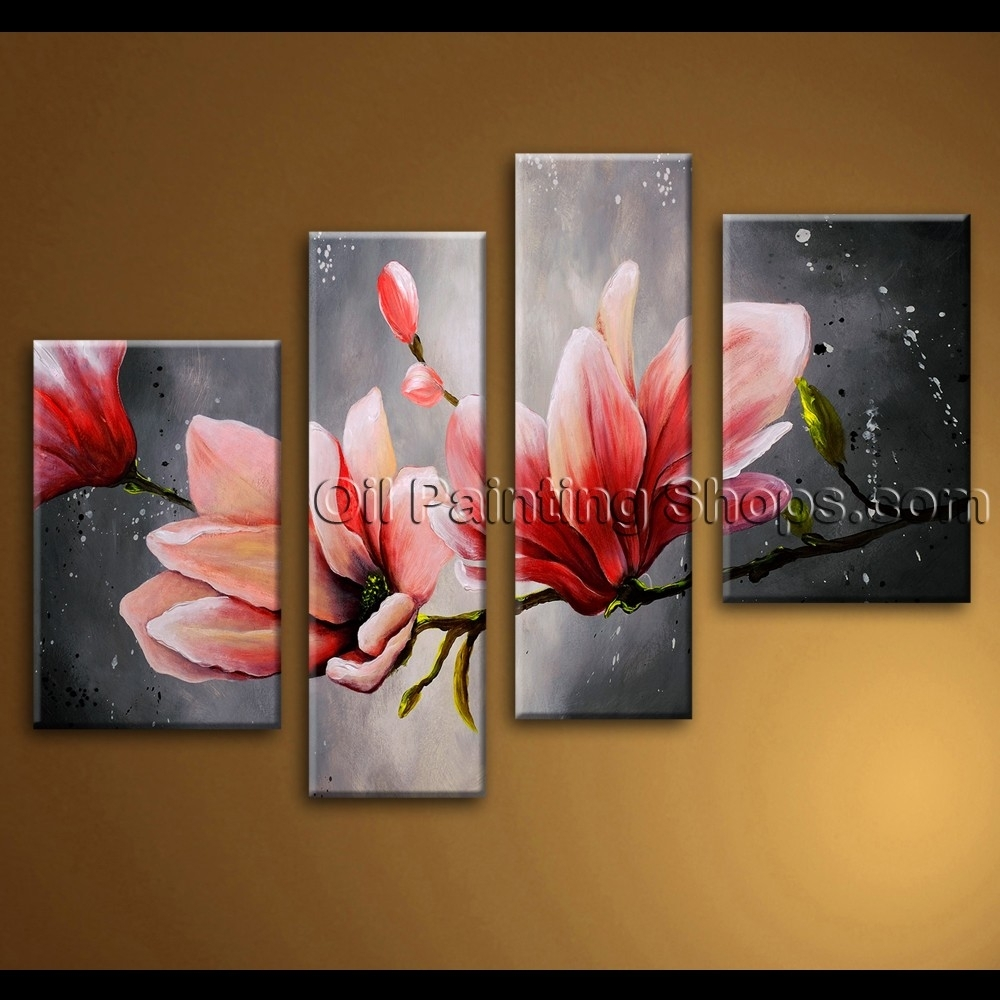 Large Wall Art Abstract Floral Oil Painting On Canvas Tulip Throughout Most Current Abstract Flower Wall Art (Gallery 8 of 20)