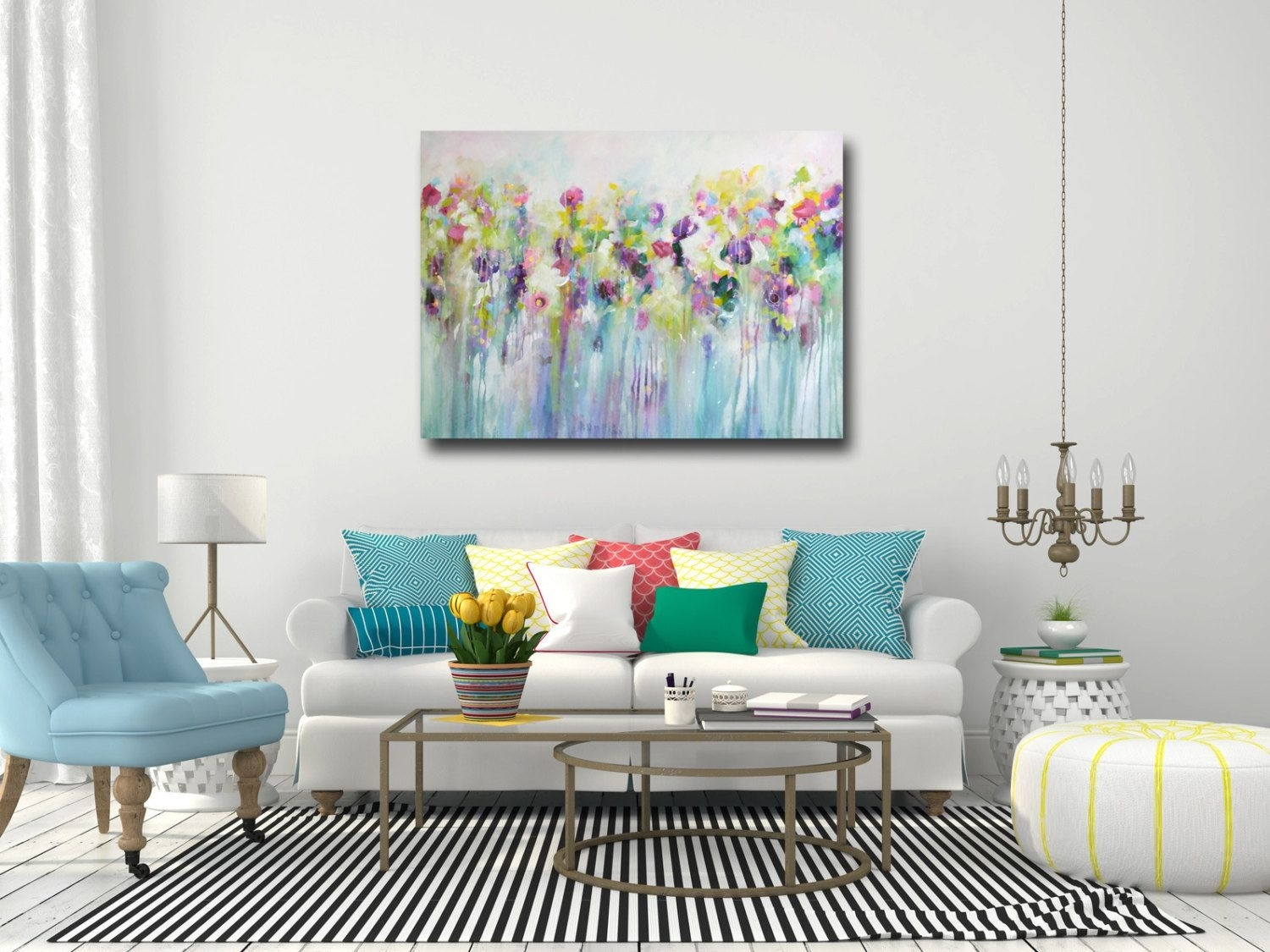 Large Wall Art, Canvas Art, Abstract Floral Canvas Print, Giclee Throughout Most Popular Abstract Floral Wall Art (View 5 of 20)