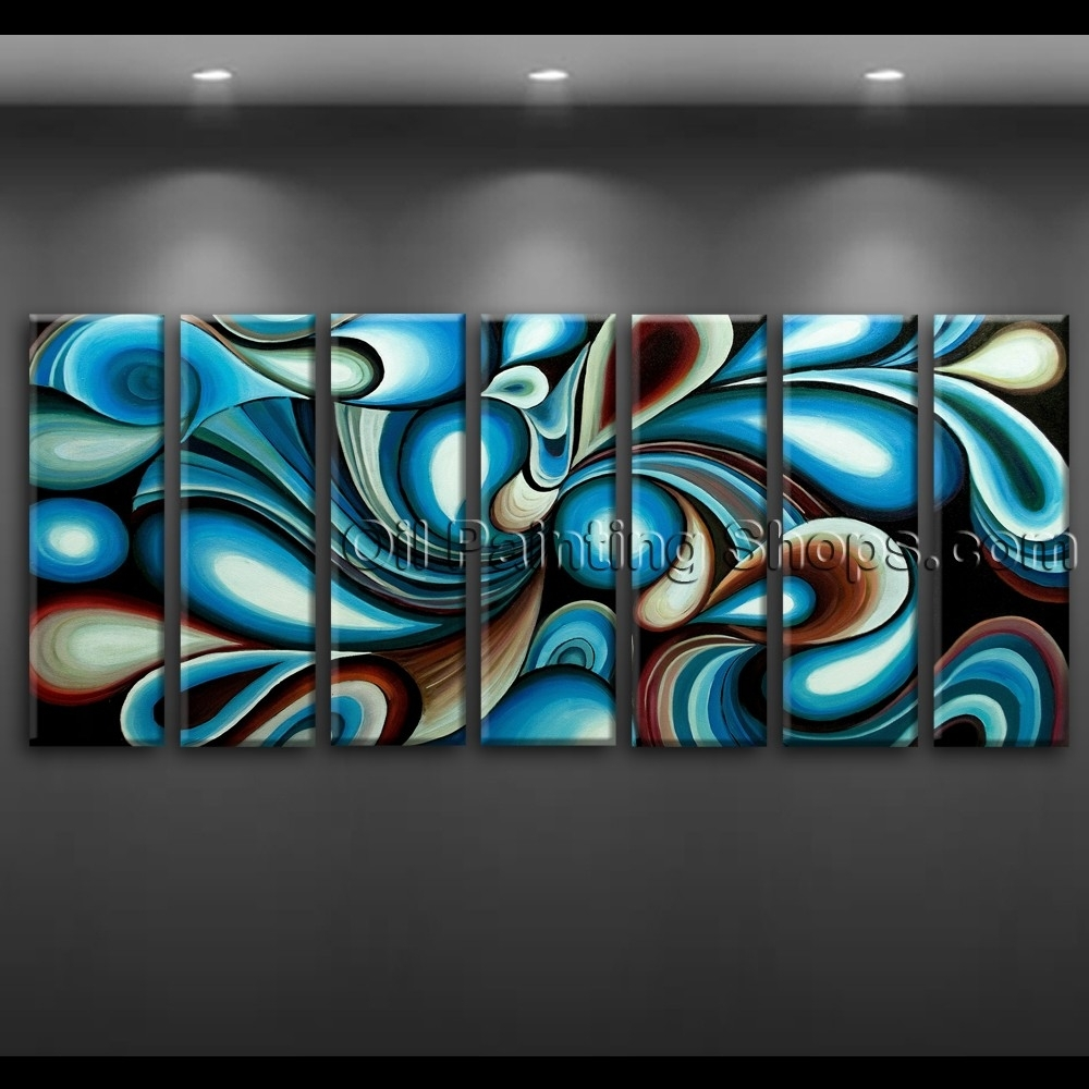 Large Wall Art Colorful Abstract Oil Painting On Canvas Modern Framed For Most Popular Large Abstract Canvas Wall Art (Gallery 12 of 20)