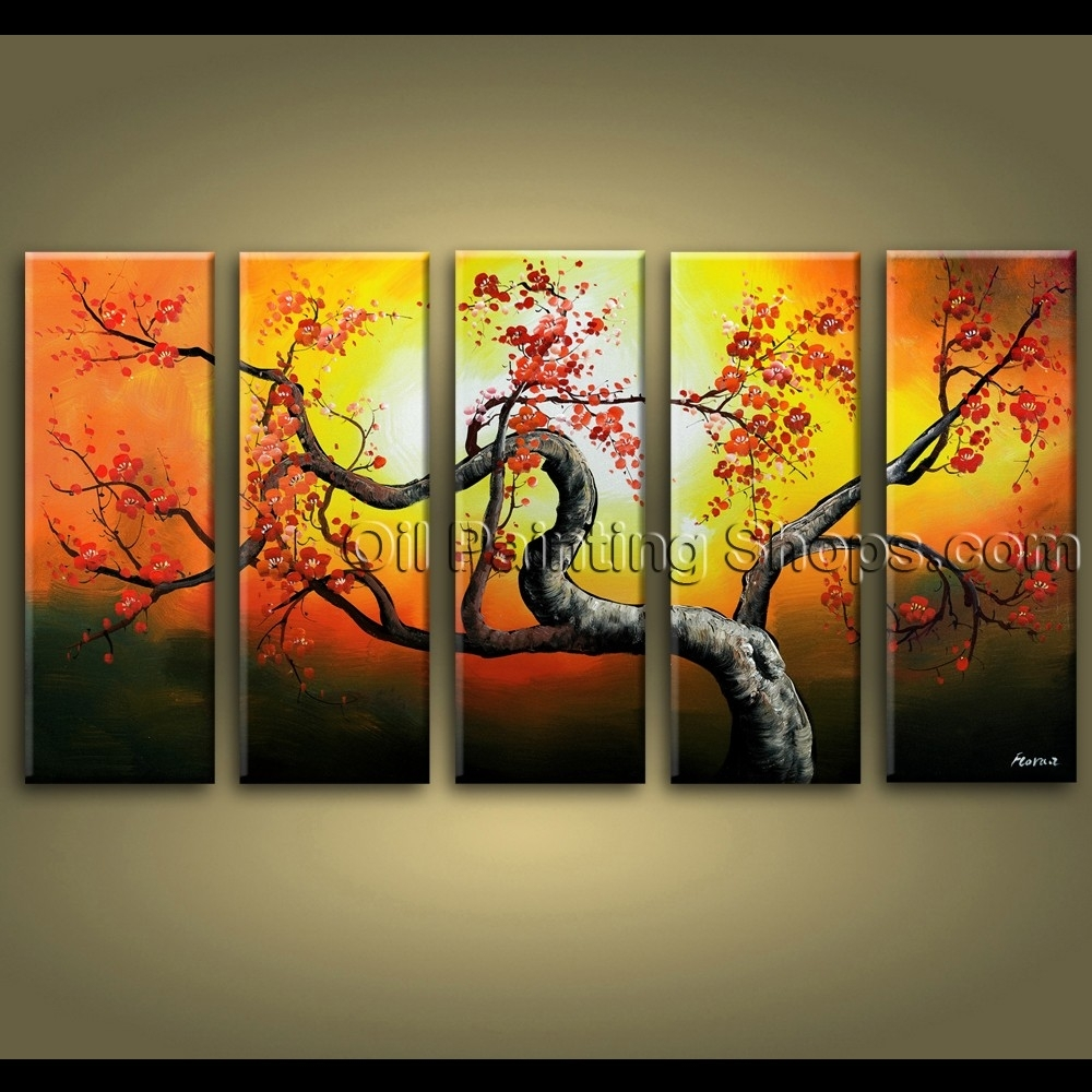 Large Wall Art Hand Painted Abstract Floral Oil Painting Canvas For Current Extra Large Abstract Wall Art (Gallery 8 of 20)