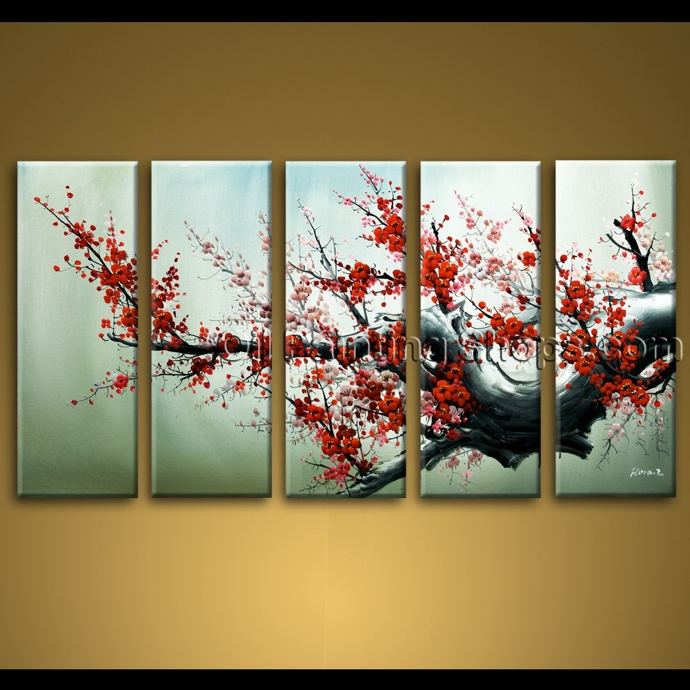 Large Wall Art Hand Painted Abstract Floral Oil Painting Canvas For Latest Abstract Floral Canvas Wall Art (Gallery 11 of 20)
