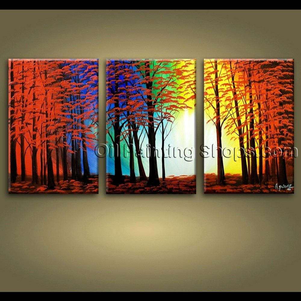 Large Wall Art Hand Painted Abstract Landscape Sunset Tree Road Throughout Newest Abstract Landscape Wall Art (Gallery 5 of 20)