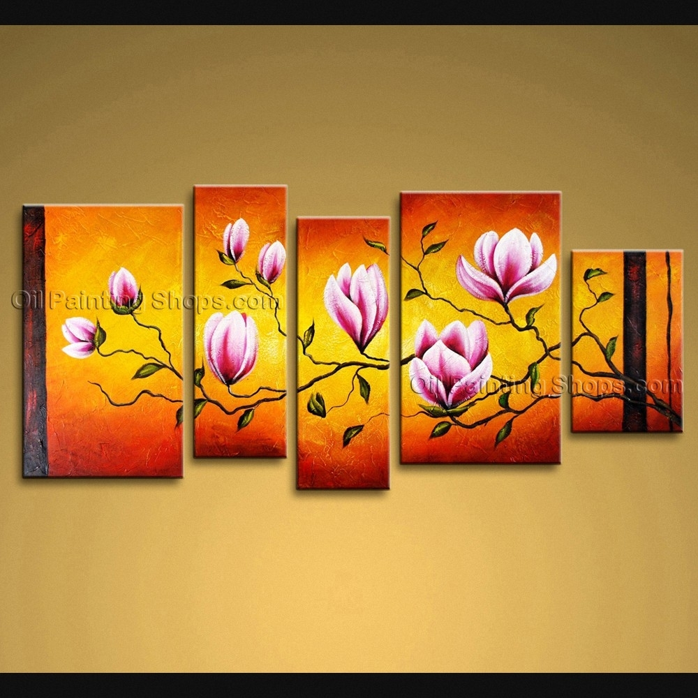 Large Wall Art Modern Abstract Painting Tulip Flower 5 Panels Framed For Latest Abstract Floral Wall Art (View 16 of 20)