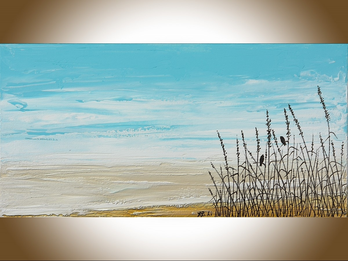"""Life On Beachqiqigallery 24"""" X 12"""" Birds Art Abstract Pertaining To Most Current Abstract Beach Wall Art (View 6 of 20)"""