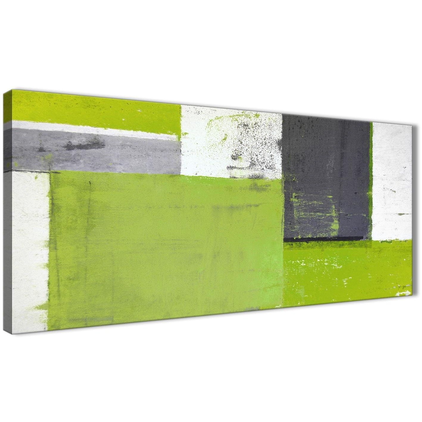 Lime Green Grey Abstract Painting Canvas Wall Art Print – Modern With Regard To Current Lime Green Abstract Wall Art (View 2 of 20)