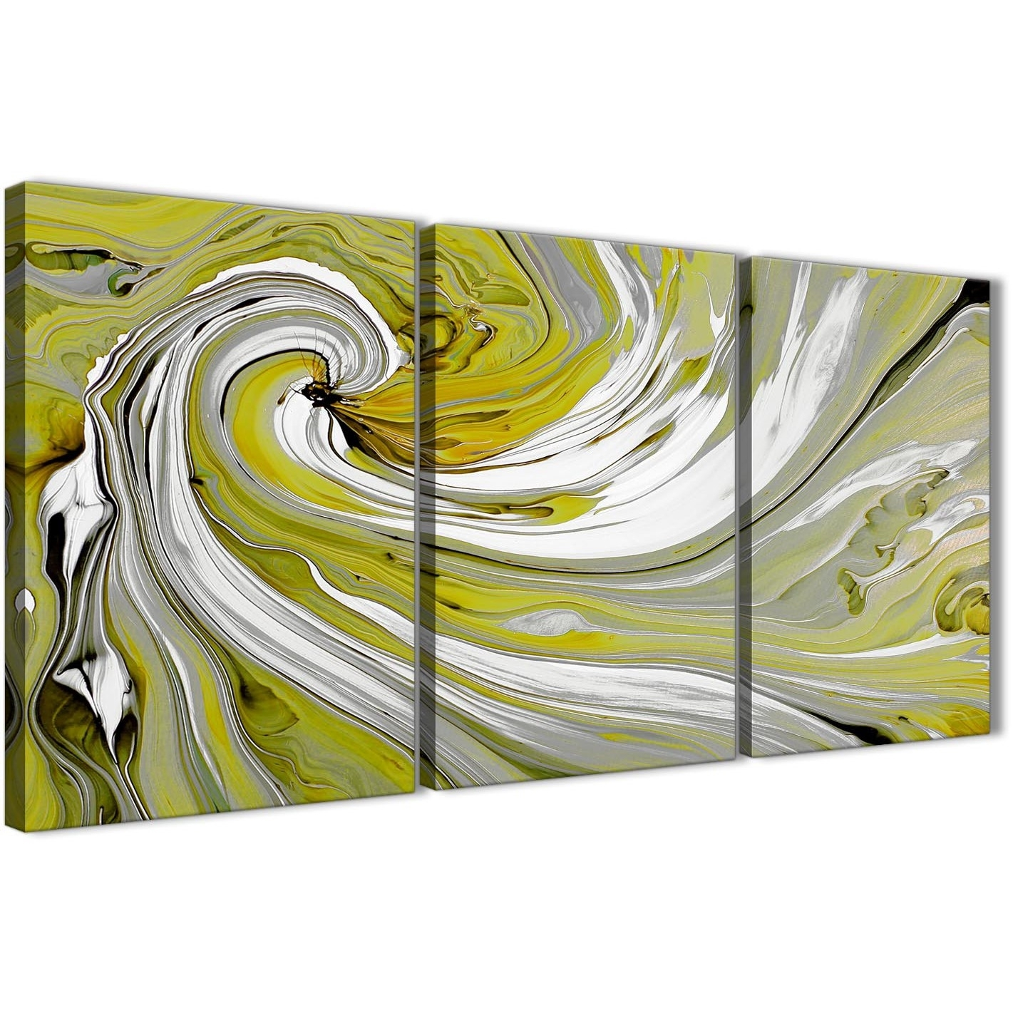Lime Green Swirls Modern Abstract Canvas Wall Art – Split 3 Piece Within Most Up To Date Lime Green Abstract Wall Art (View 9 of 20)