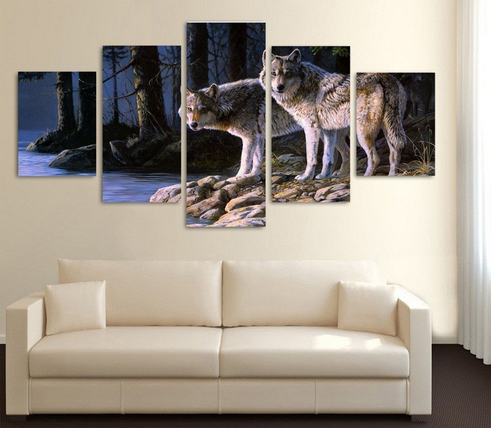 Limited Edition 2 Wolves 5 Piece Canvas Print With Regard To Newest Limited Edition Canvas Wall Art (View 2 of 20)