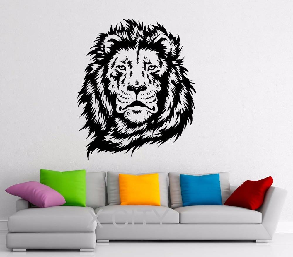 Lion King Of African Animal Black Wall Art Decal Sticker Removable Within 2017 African animal Wall Art (View 17 of 20)