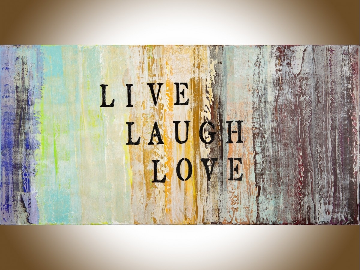 "Live Laugh Loveqiqigallery 48""x24"" Abstract Painting Grey intended for Best and Newest Abstract Art Wall Hangings"