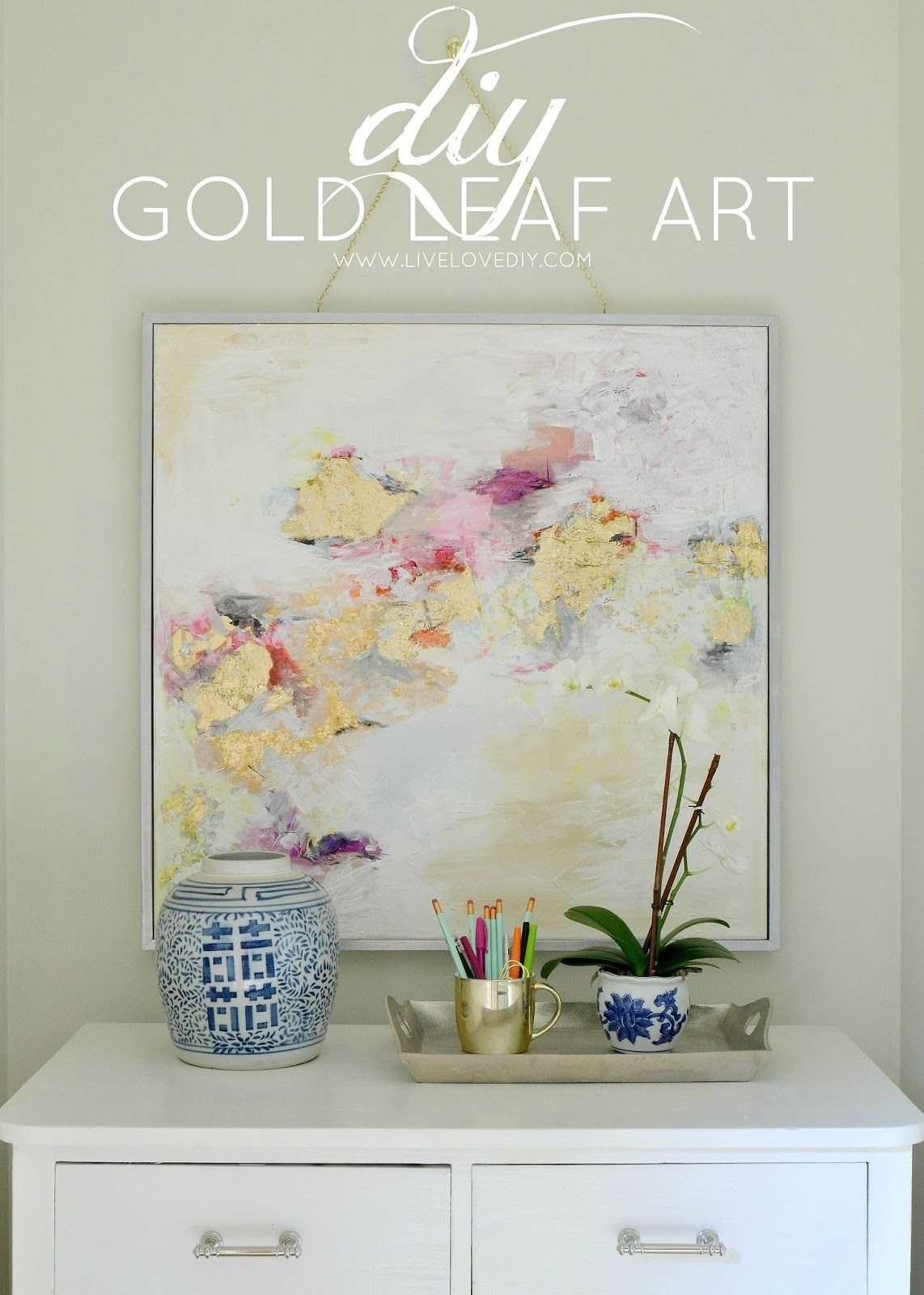 Livelovediy: How To Make Gold Leaf Art (round Two)! For Most Recently Released Abstract Leaves Wall Art (View 8 of 20)