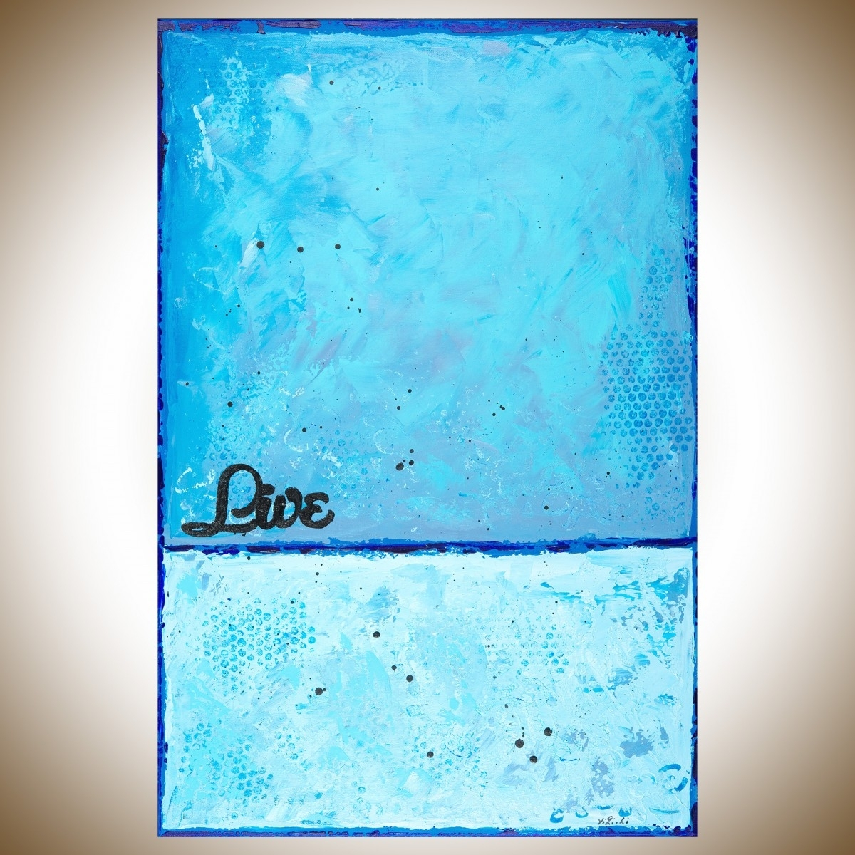 """Liveqiqigallery 36""""x24"""" Original Modern Abstract Wall Throughout Recent Blue Canvas Abstract Wall Art (View 12 of 20)"""