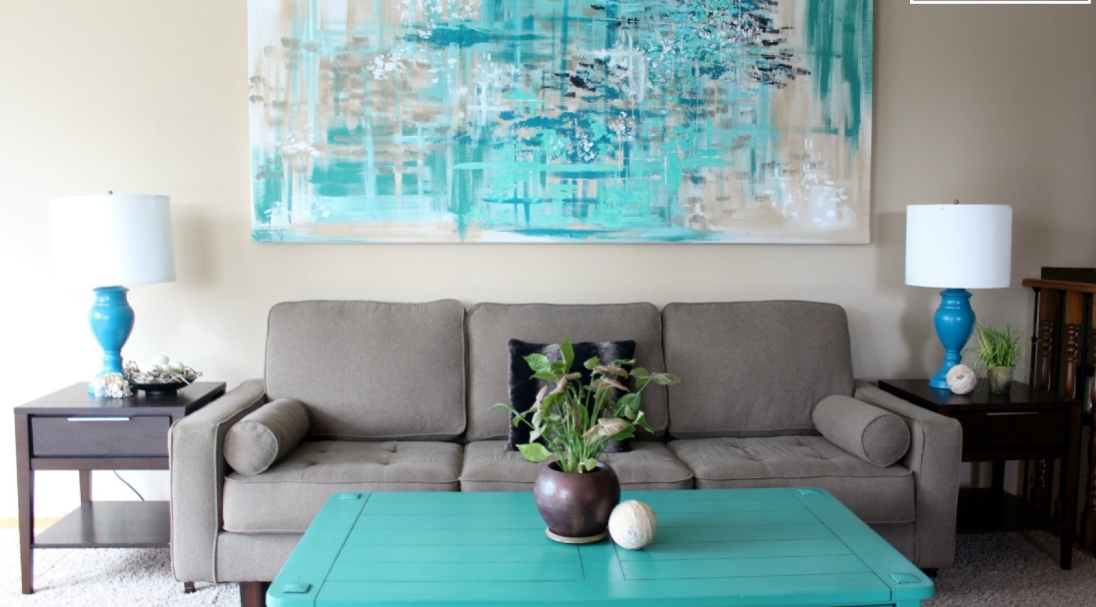Living Room : Large Abstract Canvas Artwork Large Red Abstract Inside Recent Aqua Abstract Wall Art (View 4 of 20)