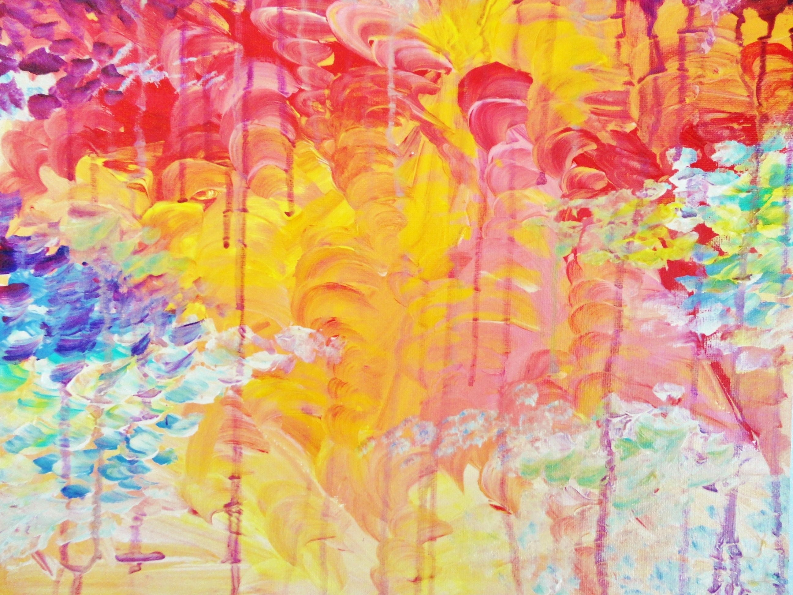 Lovely Abstract Free Shipping Acrylic Painting Sun Rain Shower Within Newest Pastel Abstract Wall Art (View 14 of 20)