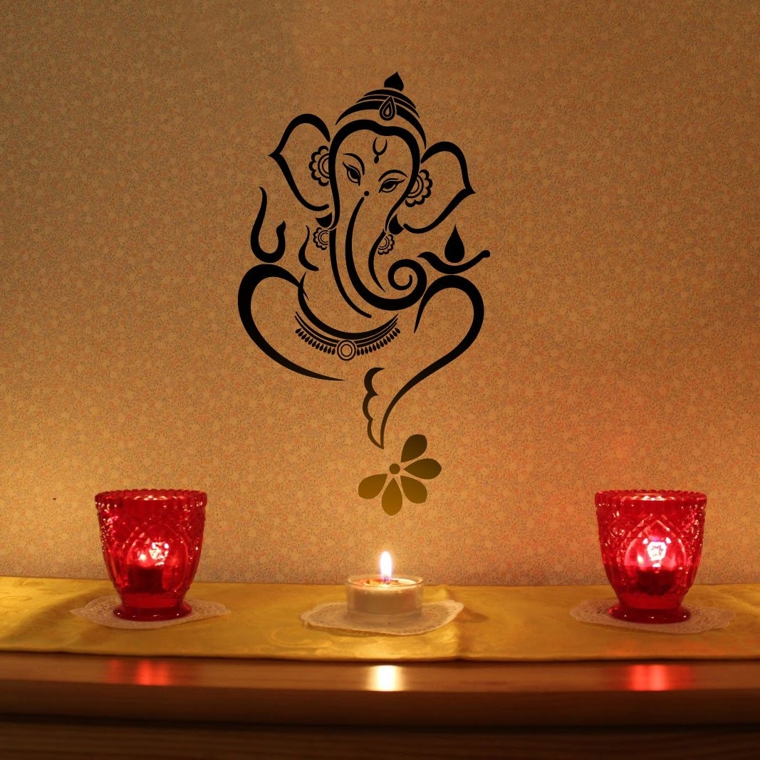 Madewalldesign Floral Ganesha – Vinyl Wall Sticker | Ganesha Throughout Most Recent Abstract Ganesha Wall Art (View 9 of 20)