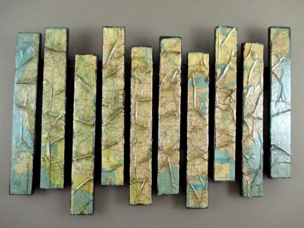 Map Artwork – Wooden Wall Sculpture – Pallet Art – Map Wall Within Most Recent Sculpture Abstract Wall Art (Gallery 14 of 20)