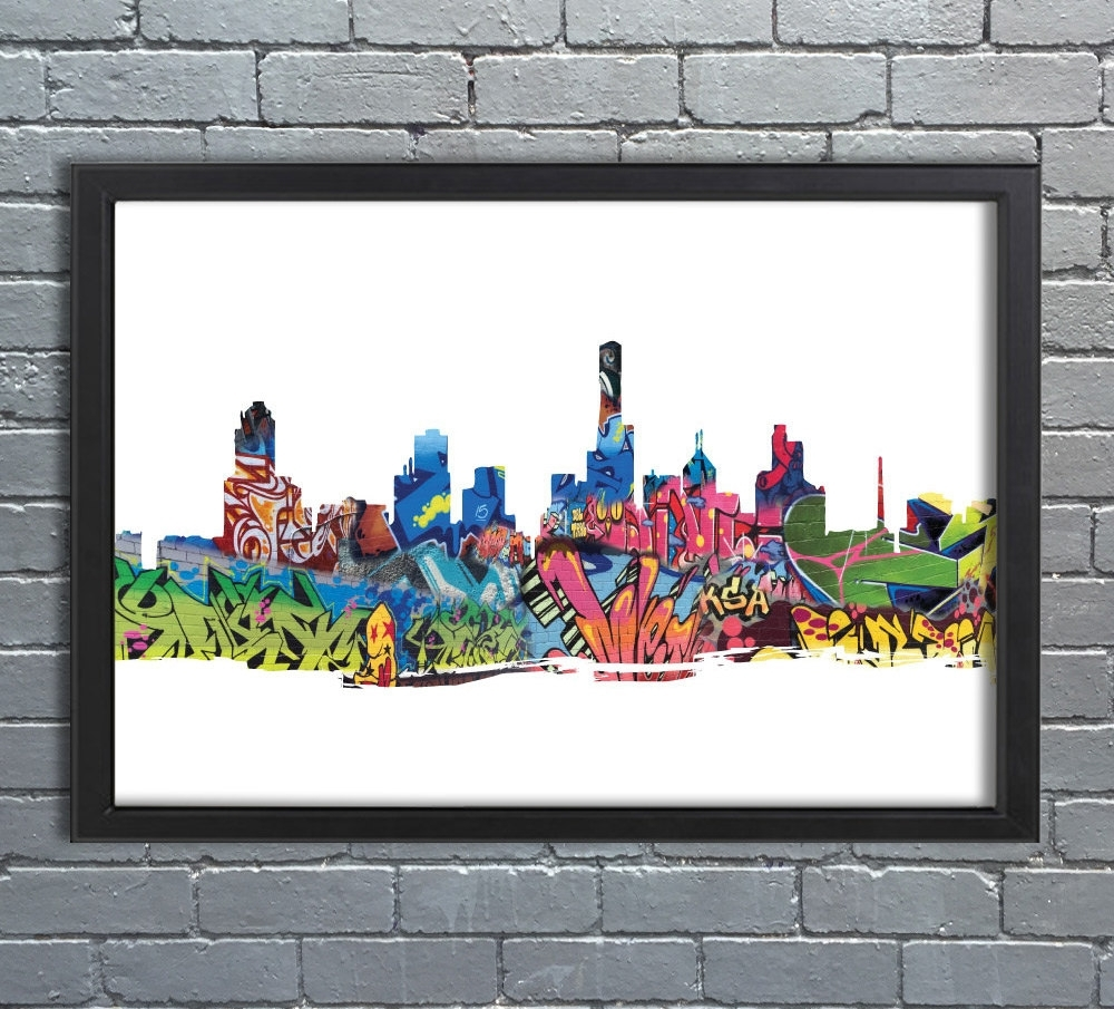 Melbourne Skyline Abstract Graffiti, Street Art, Cityscape With Most Popular Melbourne Abstract Wall Art (View 11 of 20)