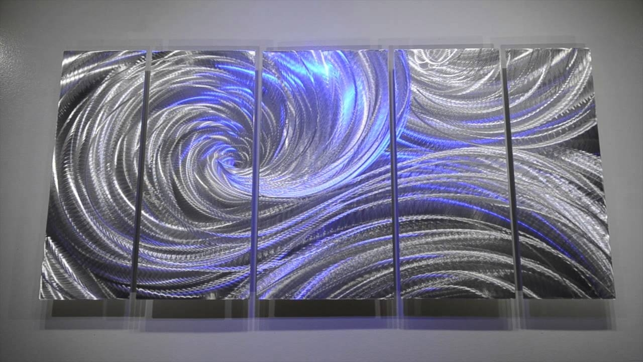 Metal Art Modern Wall Decor 3D Led Rgb Halogen Lights Original Intended For Newest Abstract Metal Wall Art Painting (Gallery 14 of 20)