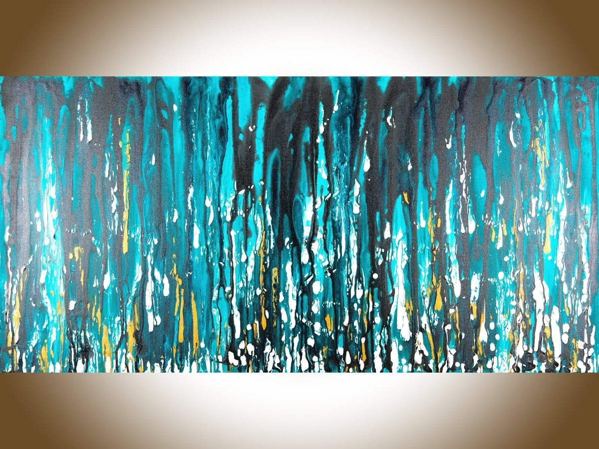 "Meteor Showerqiqigallery 48""x24"" Stretched Canvas Original In Current Aqua Abstract Wall Art (View 10 of 20)"