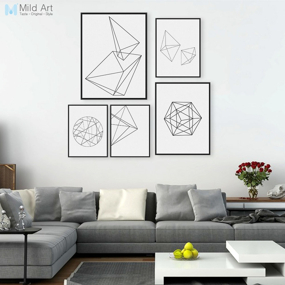 Minimalist Black White Geometric Line Shape Poster Print Modern Throughout Recent Abstract Wall Art Posters (Gallery 12 of 20)