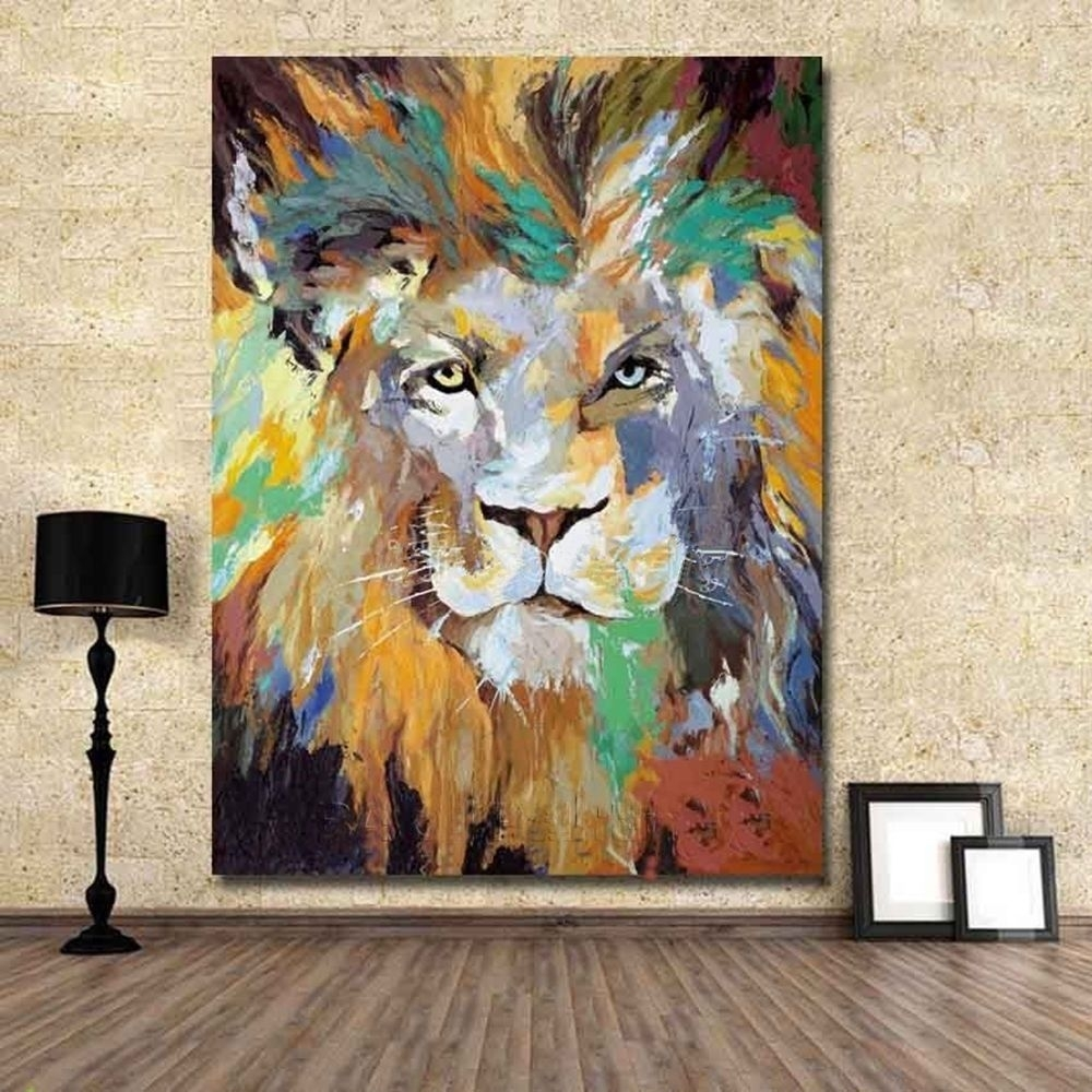 Modern 100% Hand Painted Abstract Oil Painting Art Deco On Canvas In Latest Abstract Lion Wall Art (Gallery 10 of 20)