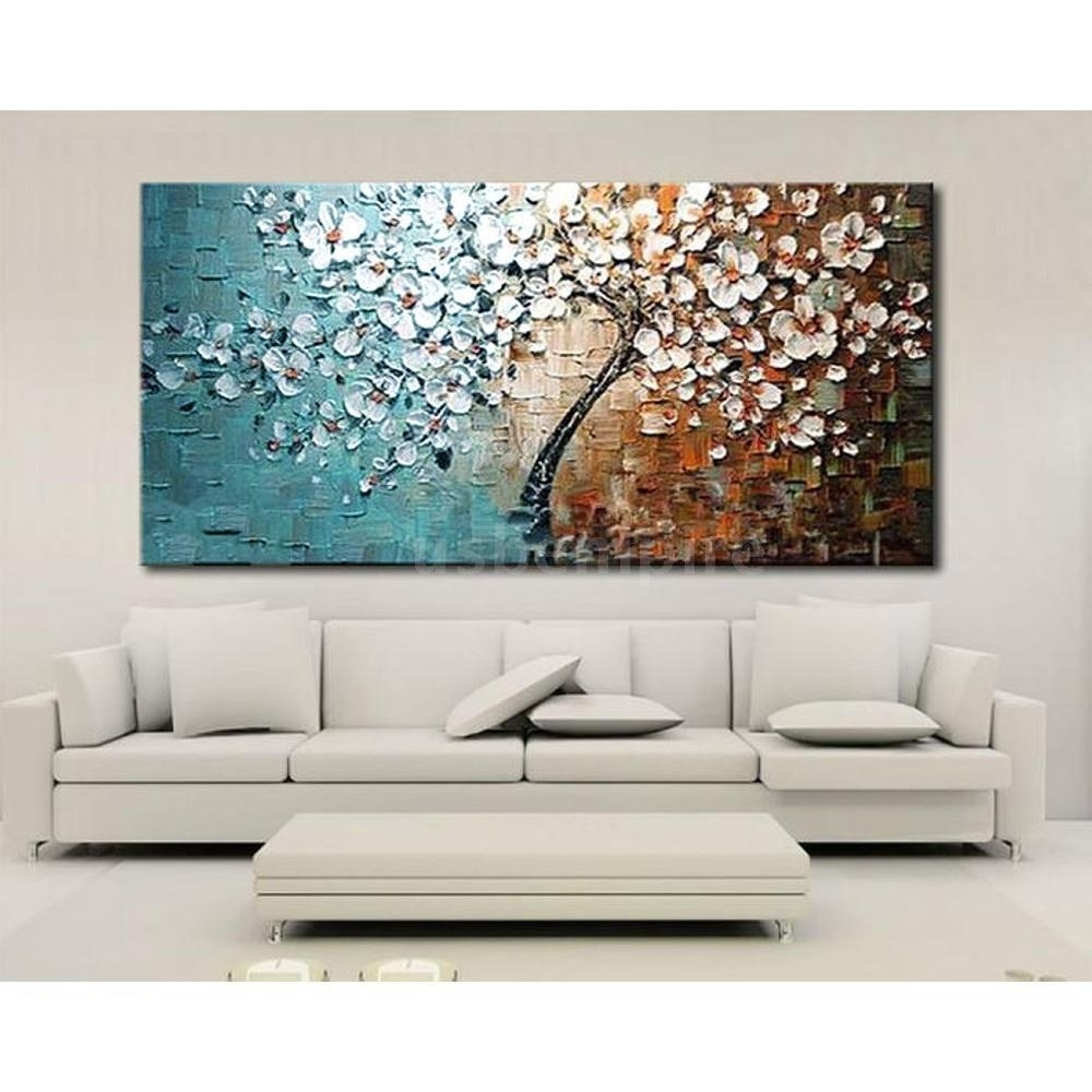 Modern Abstract Art Oil Painting On Canvas Wall Decor Flower Tree Pertaining To Most Current Cherry Blossom Oil Painting Modern Abstract Wall Art (View 20 of 20)