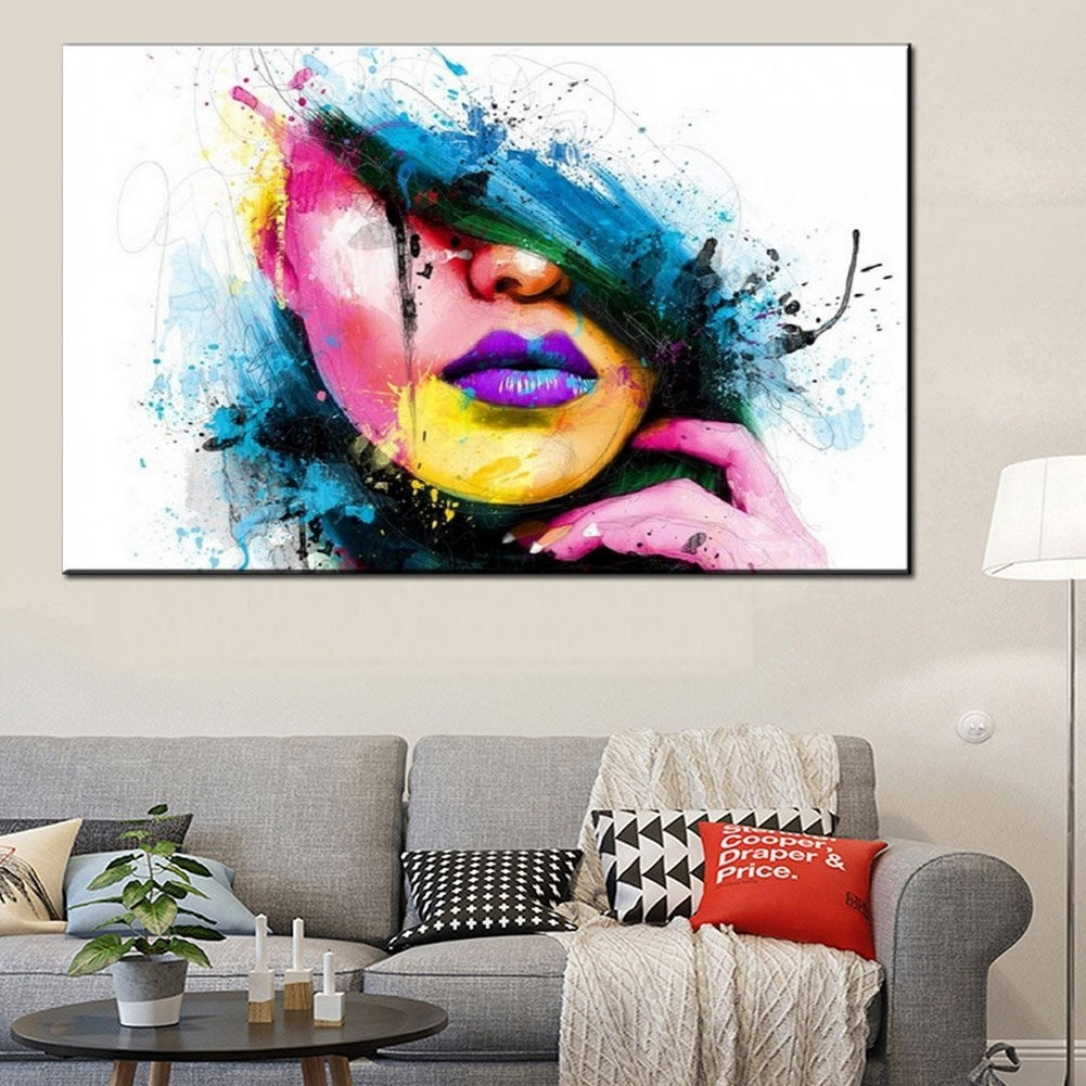 Modern Abstract Canvas Wall Art Painted Oil Painting Of A Woman's With Regard To Most Recent Abstract Wall Art For Bedroom (View 7 of 21)
