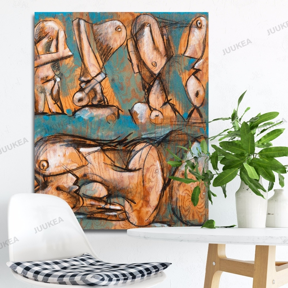 Modern Abstract Human Body Cubism Canvas Art Print Painting Poster Regarding Current Abstract Body Wall Art (View 13 of 20)
