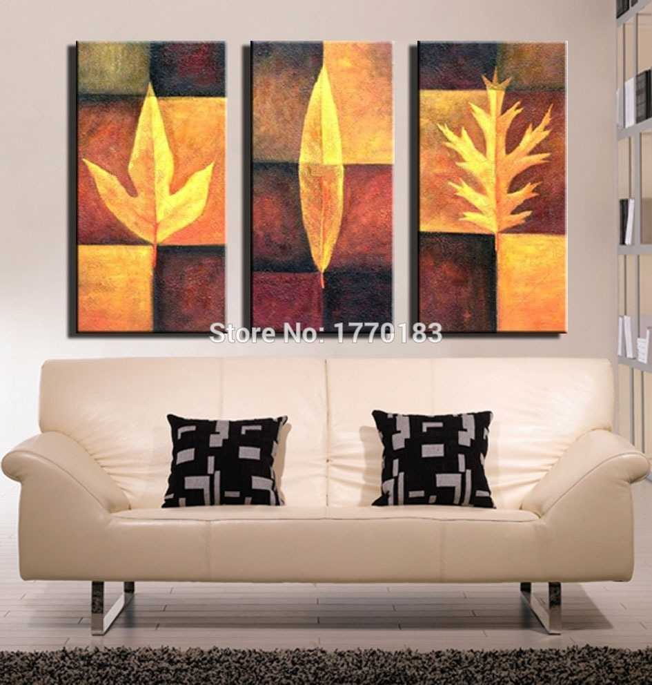 Modern Abstract Oil Painting 3 Pieces Hand Painted Wall Decor For Recent Abstract Leaves Wall Art (View 1 of 20)