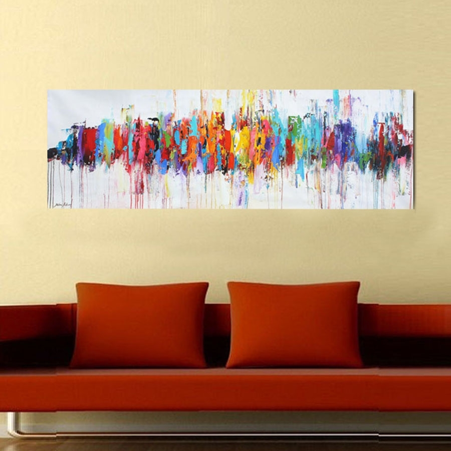 Modern Abstract Oil Paintings On Canvas Turquoise Wall Art With Most Popular Abstract Wall Art For Dining Room (View 3 of 20)