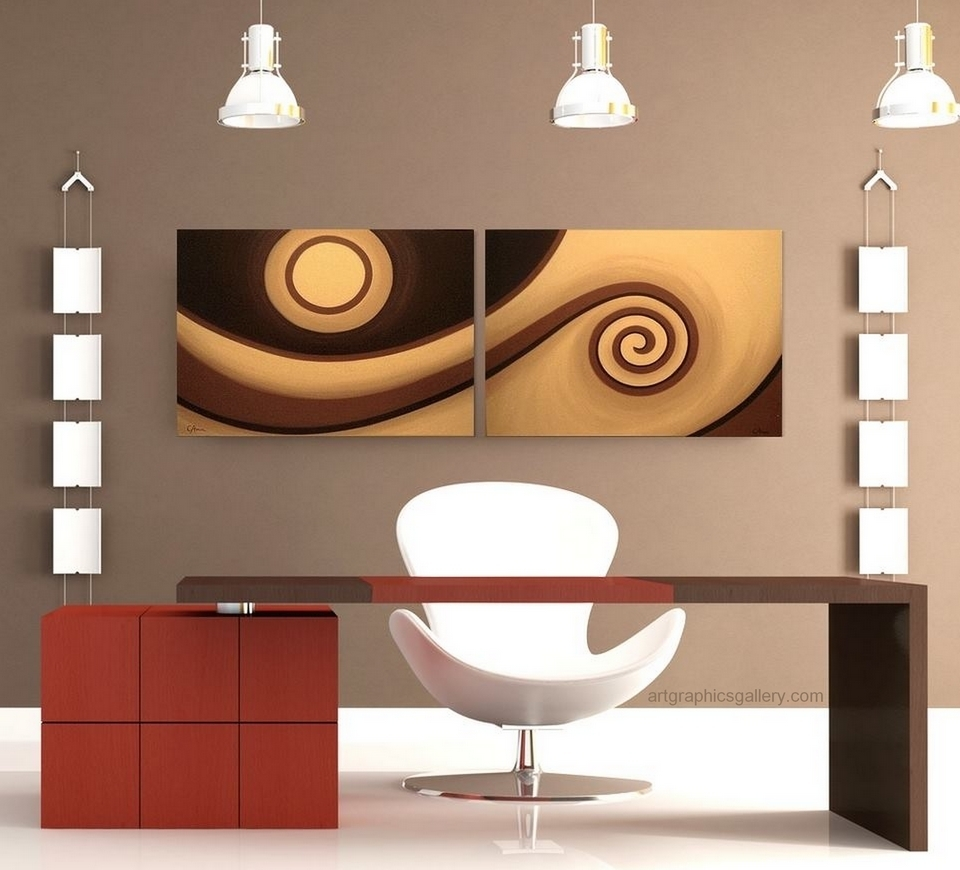 Modern Abstract Wall Art Chocolate Brown, Caramel And Cream In Current Diy Modern Abstract Wall Art (View 15 of 20)