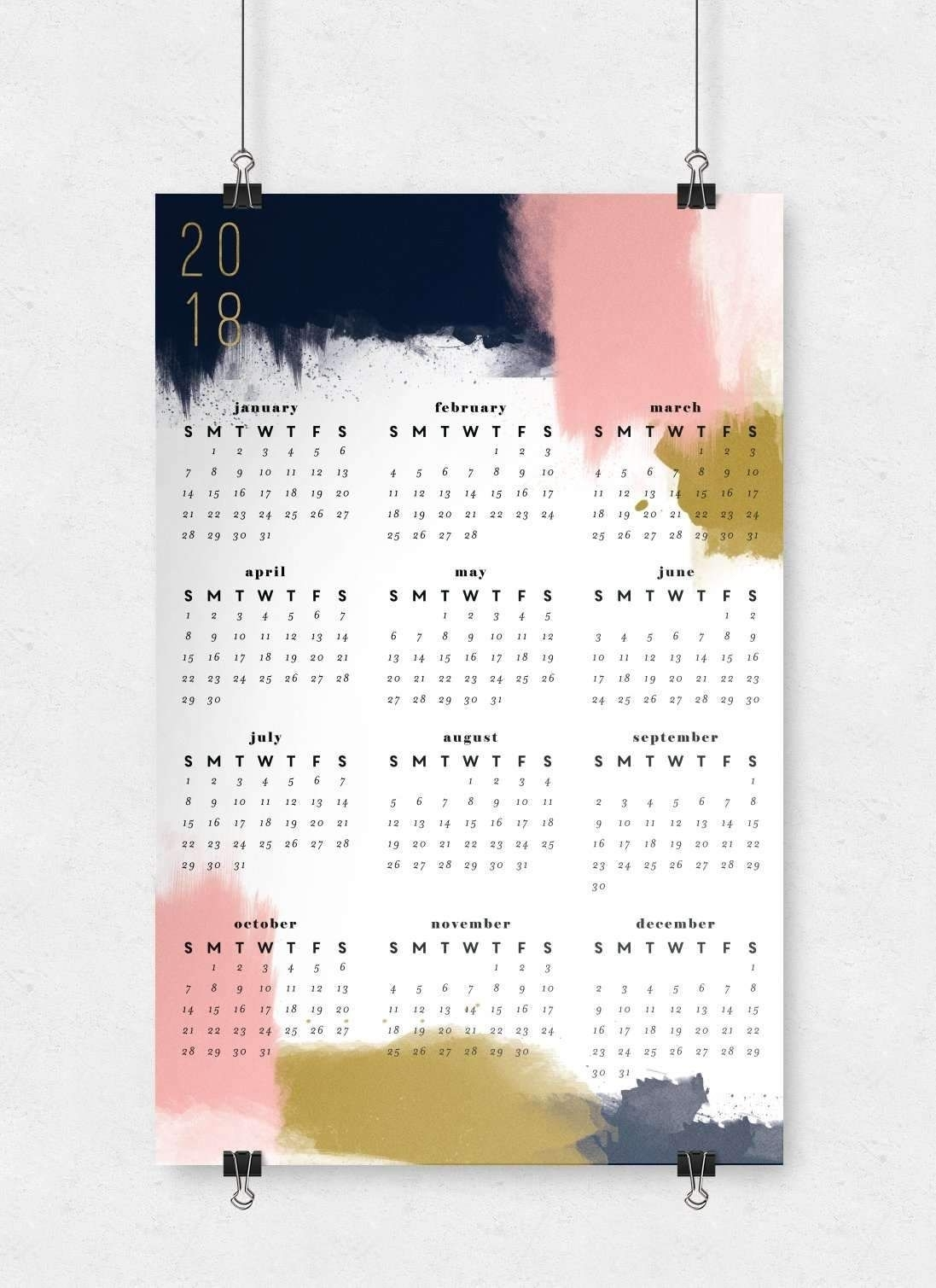 Modern Abstract Wall Calendar | 11X17 | Walls For Best And Newest Abstract Calendar Art Wall (View 2 of 20)