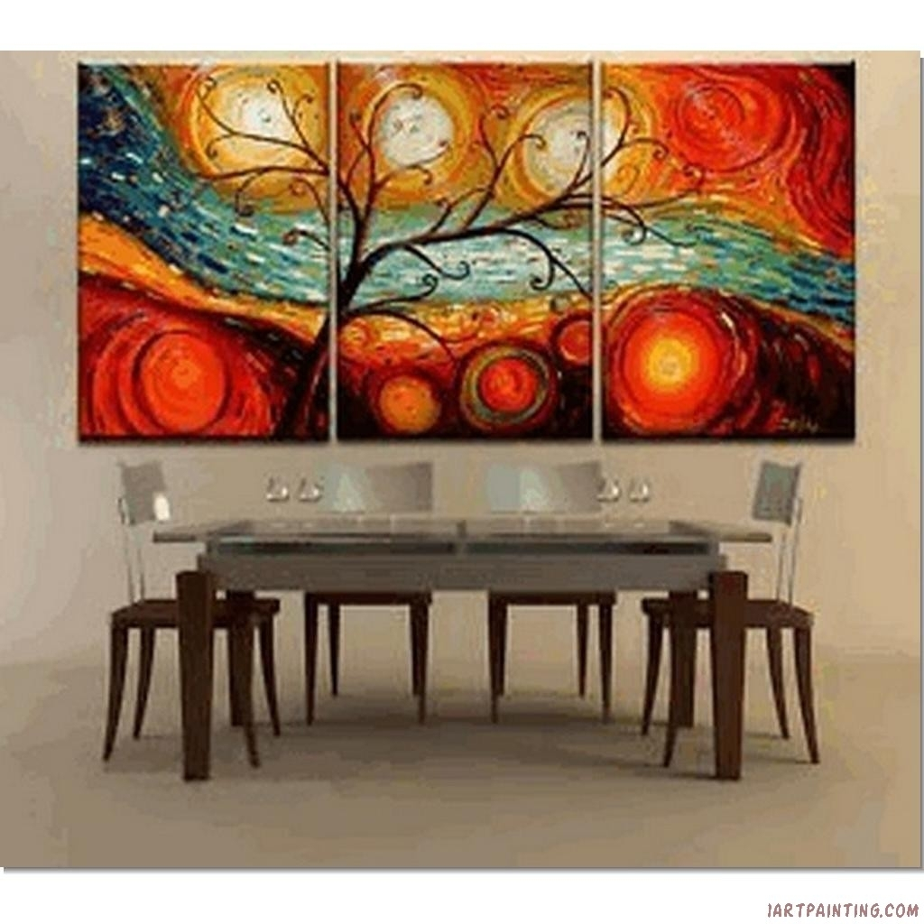 Modern Art Painting Ideas | Abstract Paintings 3Pcs Canvas Set In Most Popular Modern Abstract Oil Painting Wall Art (View 15 of 20)