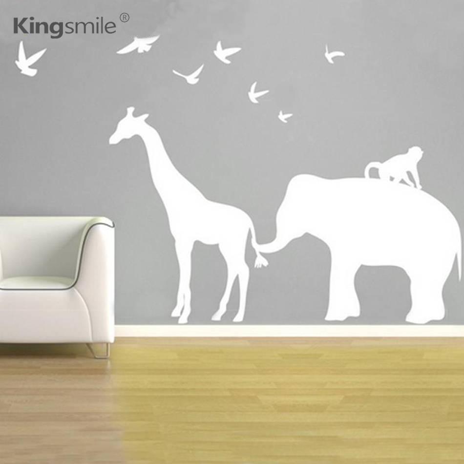 Modern Elephant Giraffe Monkey Nursery Wall Stickers Zoo Line Inside Most Recent Jungleanimal Wall Art (View 12 of 20)