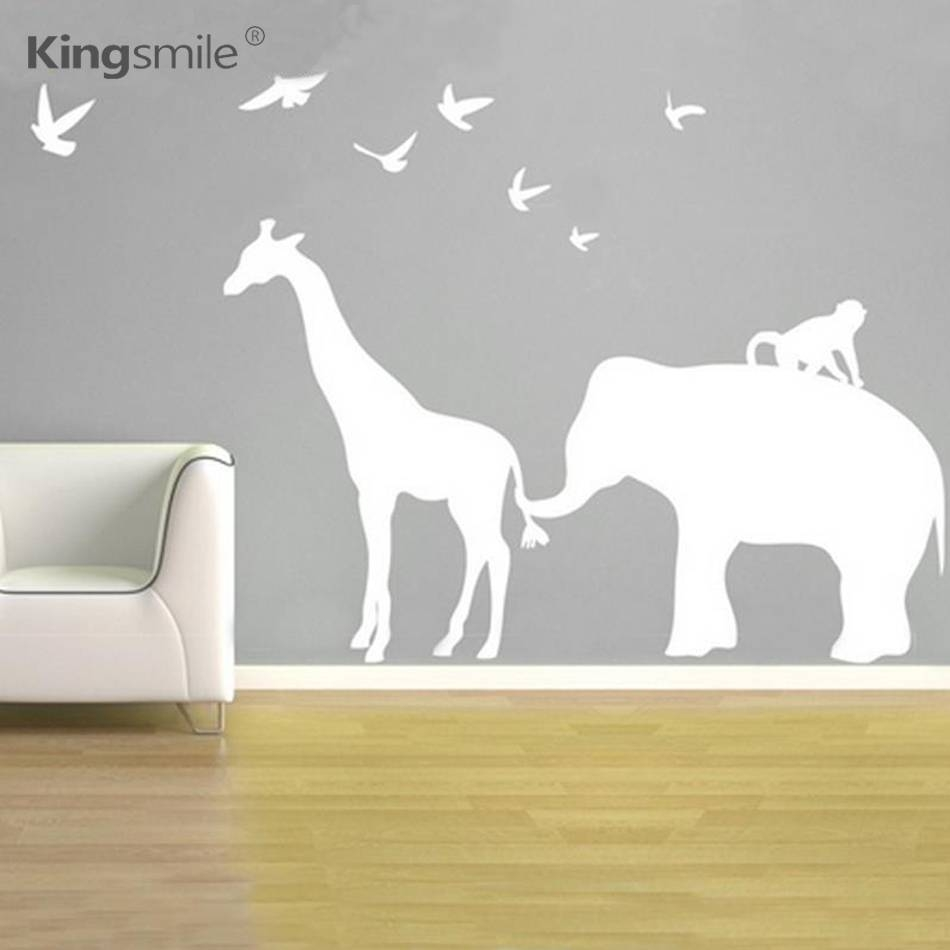 Modern Elephant Giraffe Monkey Nursery Wall Stickers Zoo Line Within Latest Safari animal Wall Art (View 9 of 20)