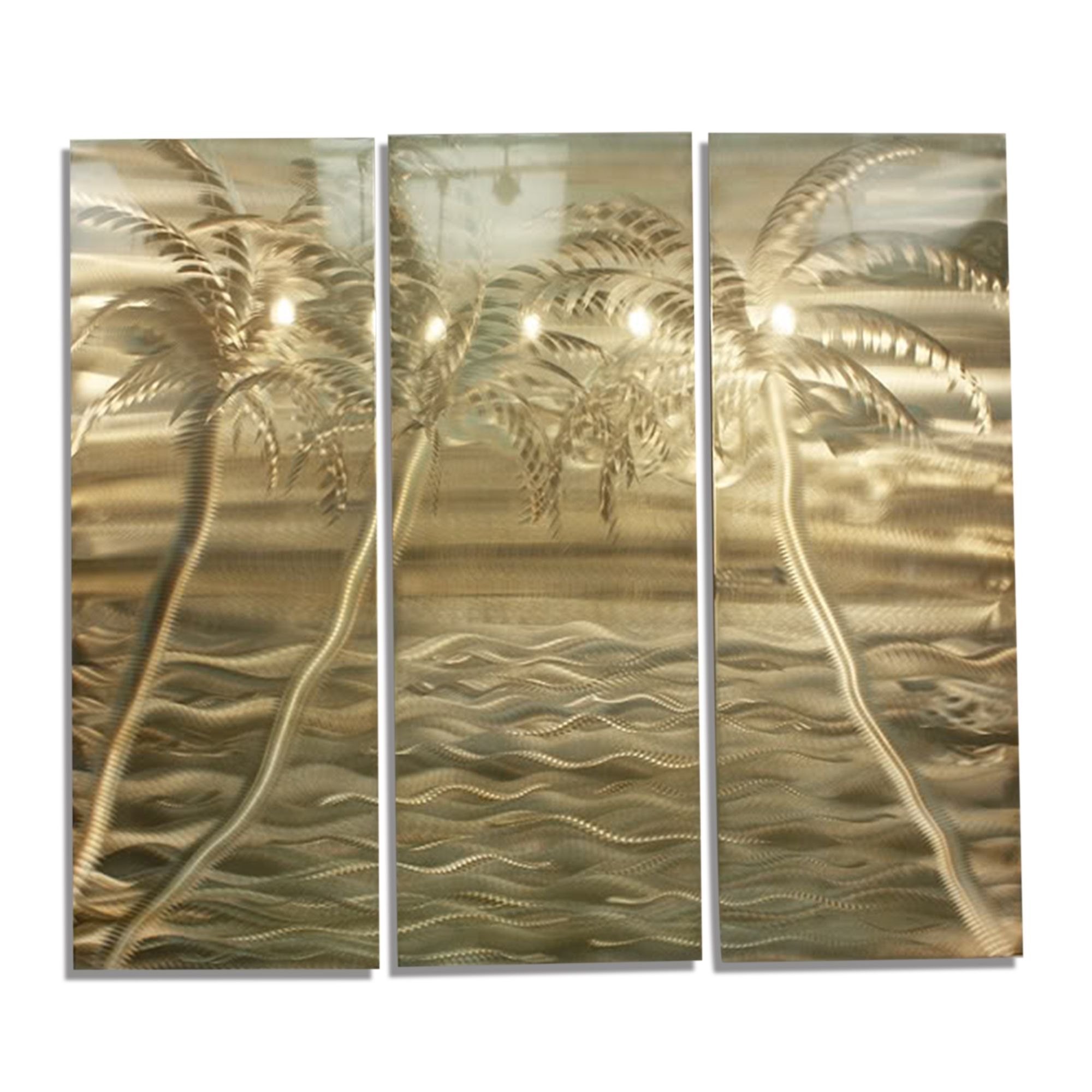Modern Gold Tropical Abstract Metal Wall Art Office Painting Decor Inside Current Abstract Metal Wall Art Painting (Gallery 9 of 20)