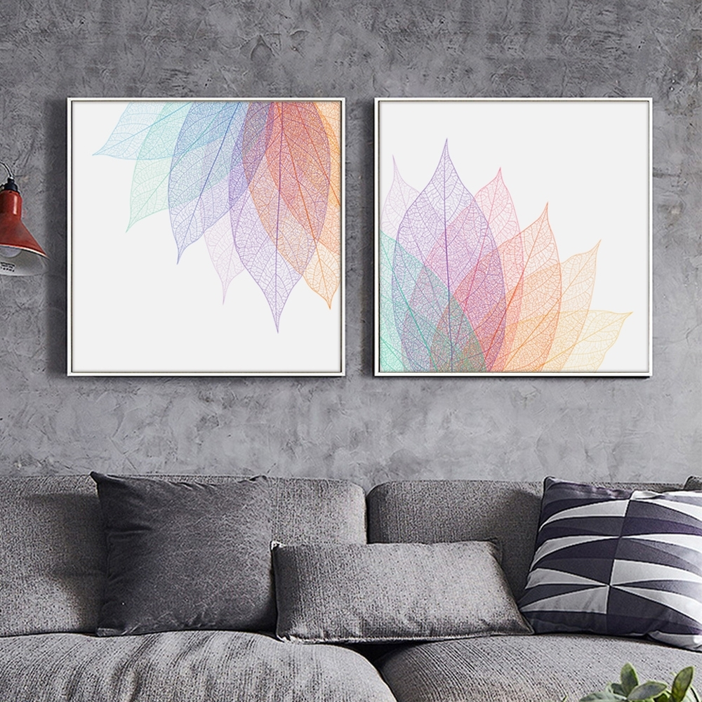 Modern Simple Abstract Transparent Leaf Shape Lines A4 Canvas Art In 2018 Abstract Leaves Wall Art (View 2 of 20)