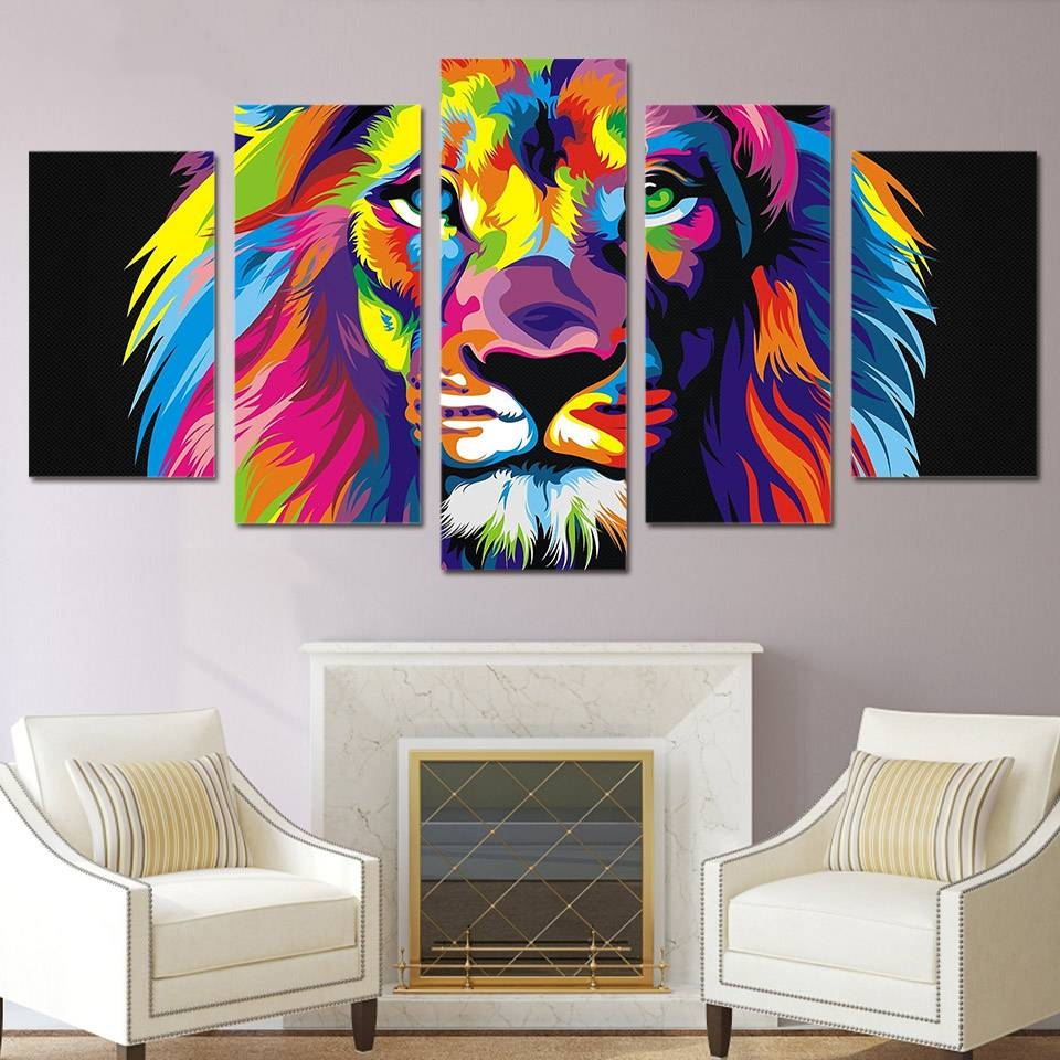Modular Wall Art Frame Home Decor Poster 5 Pieces Colorful Animal With Regard To Best And Newest ColorfulAnimal Wall Art (View 12 of 20)