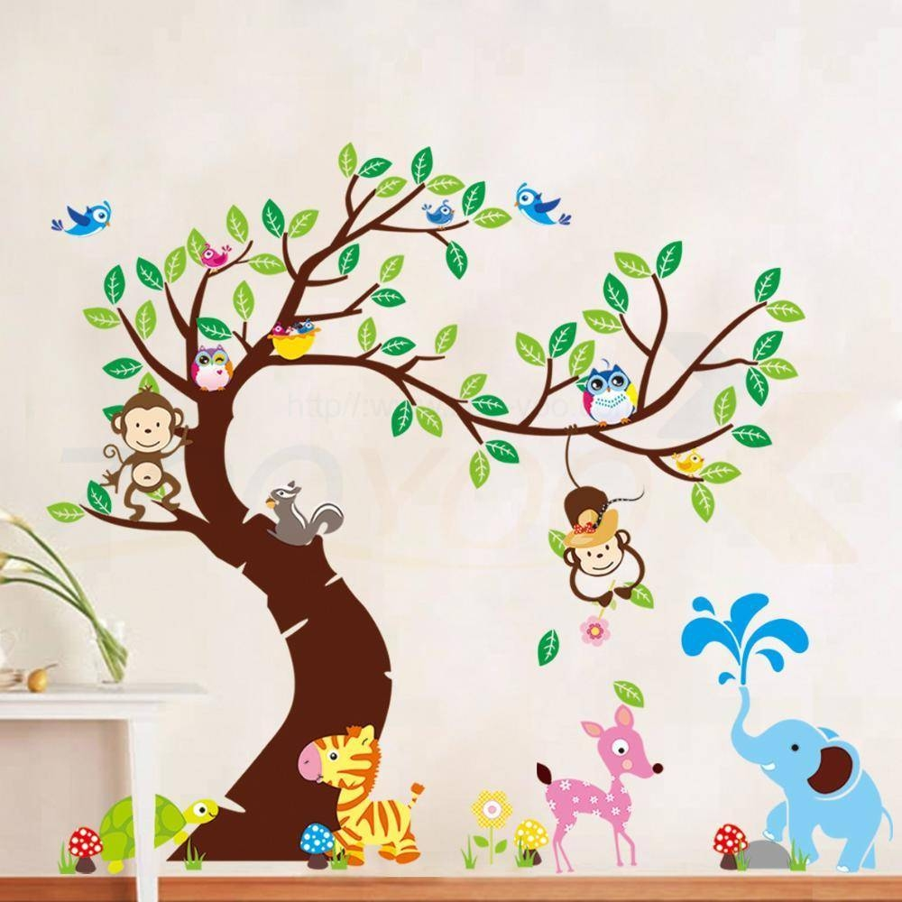 Momkey Owl Elephant Bird Zebra Zoo Wall Stickers For Kids Rooms For Most Up To Date Animal Wall Artstickers (View 13 of 20)
