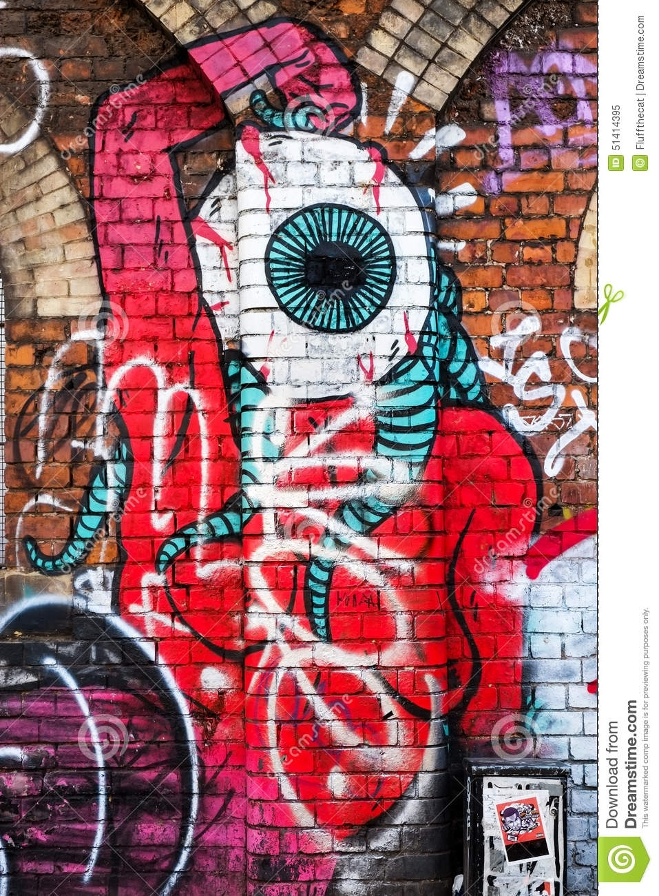 Monster Creature With Big Eye, Graffiti Wall Art, London Uk With Regard To Most Up To Date Abstract Graffiti Wall Art (View 4 of 20)