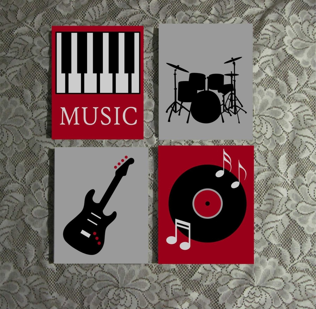 Music Themed Wall Art | Hand Painted Canvas | Music Room Decor Regarding Latest Abstract Musical Notes Piano Jazz Wall Artwork (View 9 of 20)
