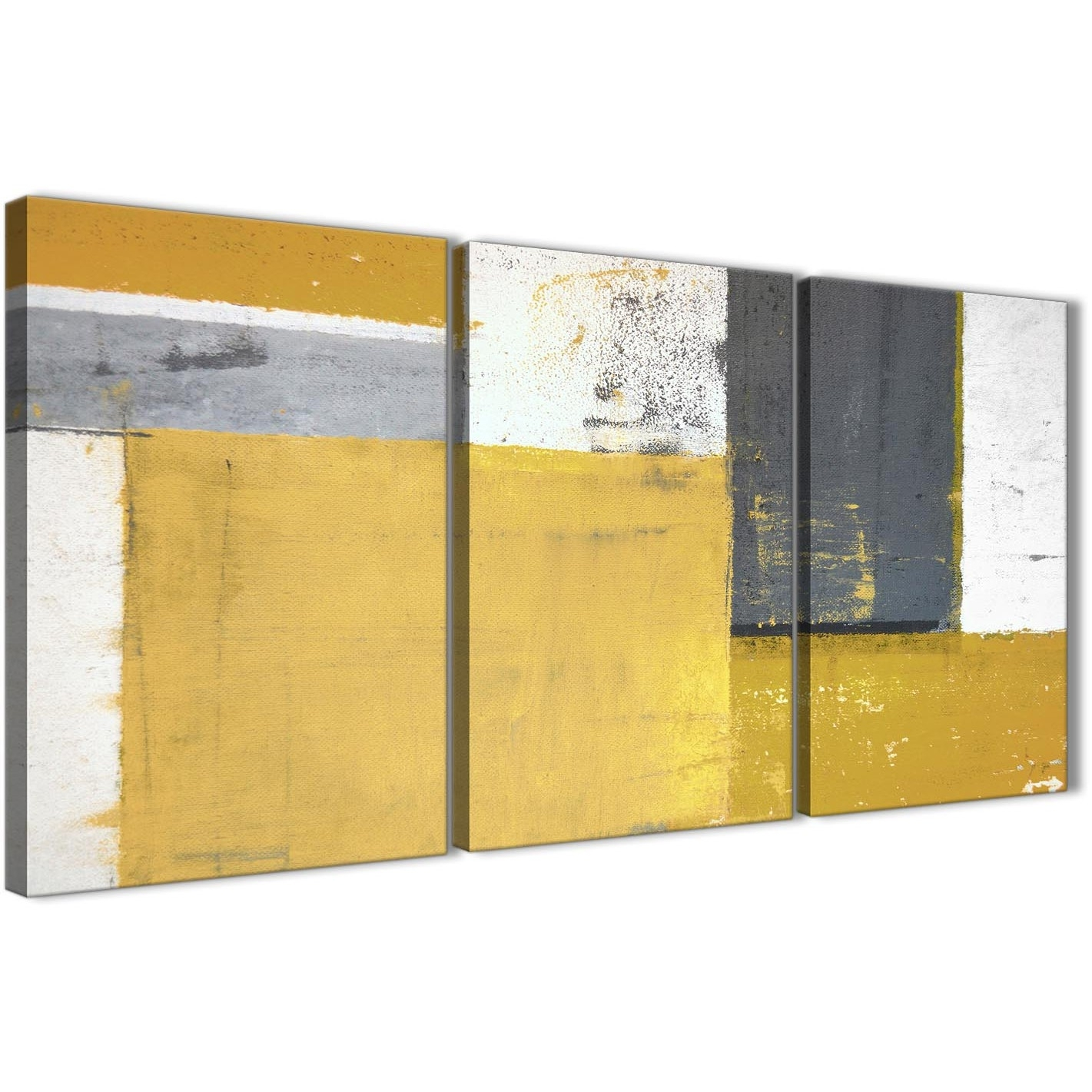 Mustard Yellow Grey Abstract Painting Canvas Wall Art Print In Most Recent Grey Abstract Canvas Wall Art (View 15 of 20)